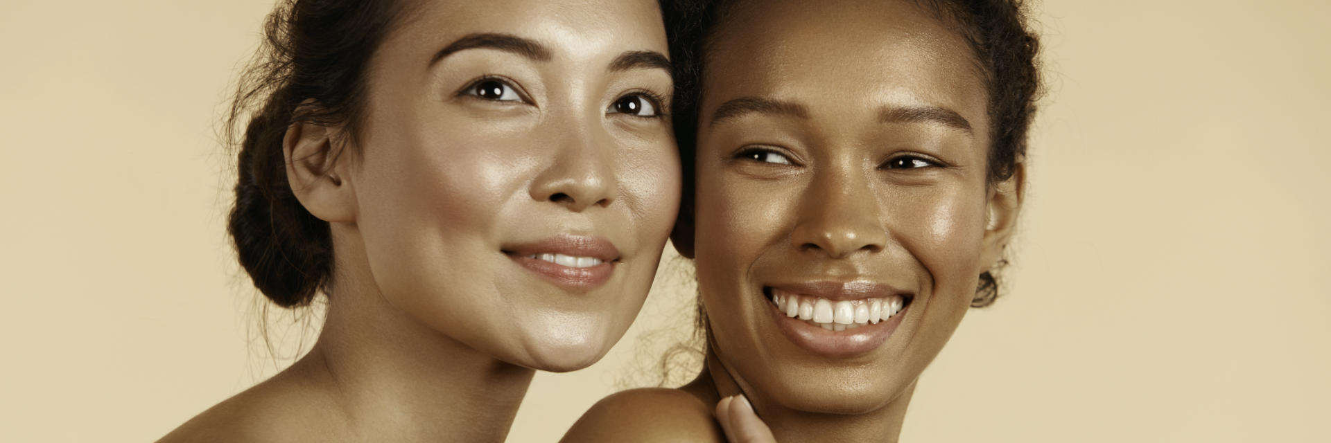 two happy women with perfect skin after facial chemical peel treatment