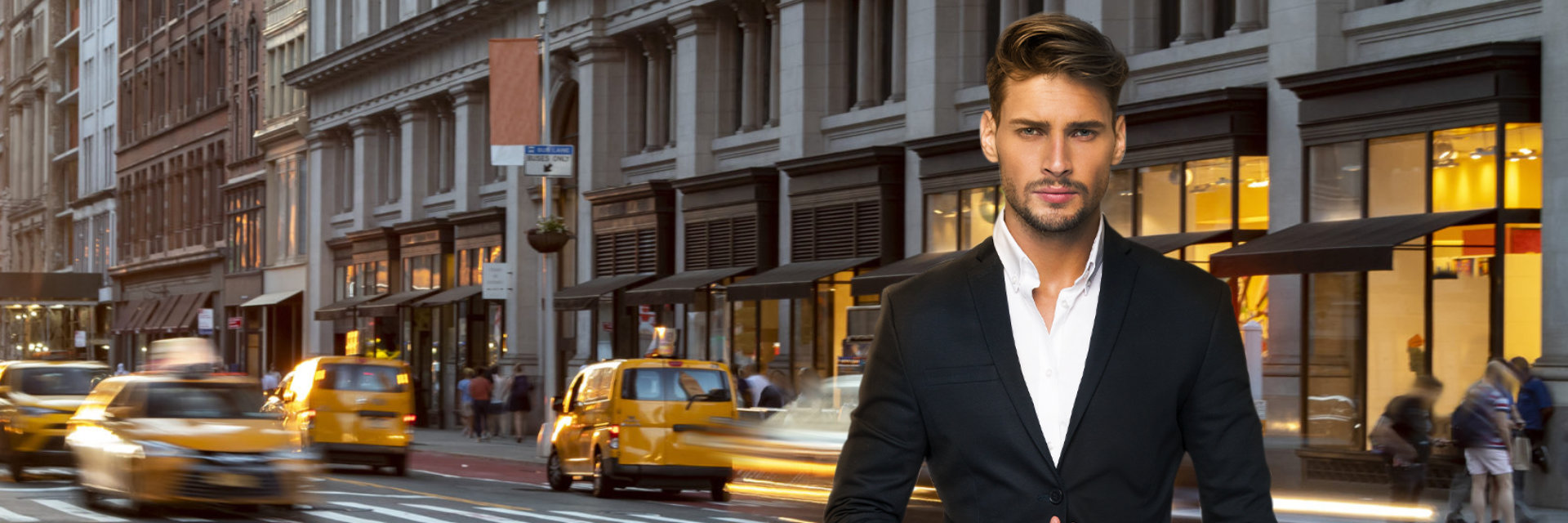 young handsome man with NY street in the background